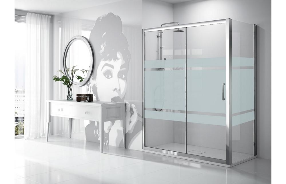 Mampara de ducha frontal fijo puerta corredera kassandra - Cabinas de duchas de bano ...